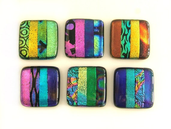 Multi colored bands dichroic glass cabinet knobs hardware for Colored glass cabinet knobs