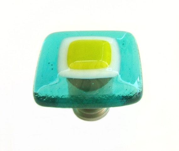 Aqua Blue Lime Green Fused Glass Knob Cabinet Hardware