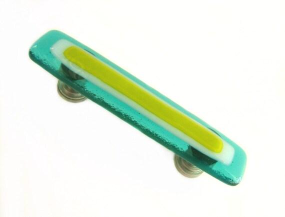 Lime Green Aqua Blue Fused Glass Drawer Pull or Cabinet Handle Hardware - Unique furniture, kitchen, or bathroom decorative hardware designs