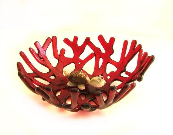 Red Ocean Beach Sea Glass Coral Art Glass Bowl