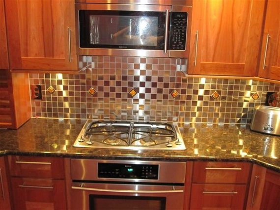 backsplash tile with red accents