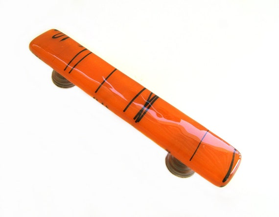 Orange with Black Streamers Fused Glass Drawer Pull or Cabinet Handle