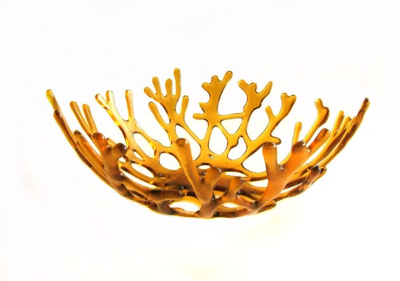 Amber Art Glass Decorative Sea Coral Bowl l Beach Cottage Decor