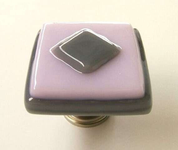 Driftwood Gray and Petal Pink Fused Glass Cabinet Knob