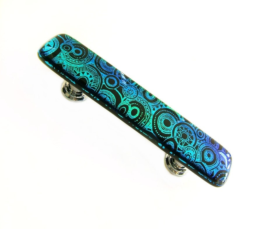 Glass drawer pull handle in etched turquoise teal design for Turquoise cabinet pulls