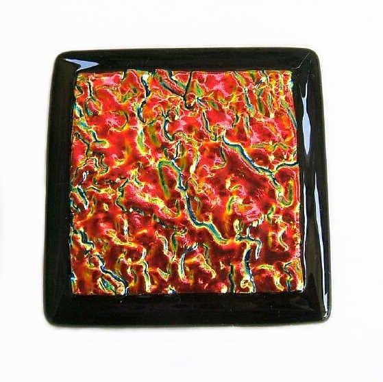 Red Kitchen Backsplash Accent Tile In Dichroic Glass