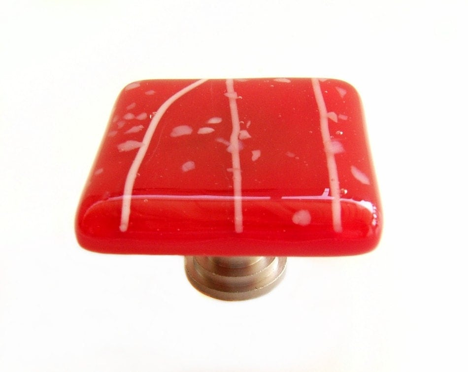 Glass Cabinet Hardware Knobs In Red With White Confetti Glass