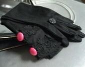 Pink Pizazz - altered black vintage gloves