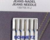 Schmetz Jeans, denim sewing machine needles, assorted size, 5 pack