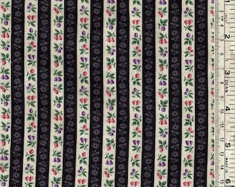 Vintage Fat quarter, floral stripe cotton fabric for sewing, quilting, craft.  additional yardage available