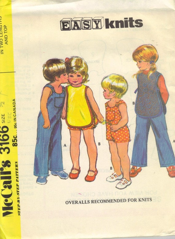 Toddler overalls  sewing pattern McCalls 3166 , size one half,  in two lengths, top, uncut, vintage