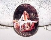 30x40mm Waterhouse Lady of Shalott Cameo, 40x30 Handmade Glass Cabochon - John Waterhouse Fine Art