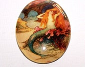30x40 Mermaid Grotto Cameo, 40x30 Mermaid Cabochon, Handmade Glass Cabochon
