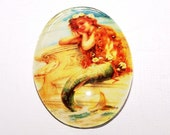 30x40 Sitting Mermaid Cameo, 40x30 Mermaid Cabochon, Handmade Glass Cabochon