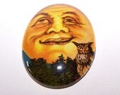 40x30mm Harvest Moon Owl Cameo, 30x40 Man in Moon Face Cameo, Handmade Glass Cabochon