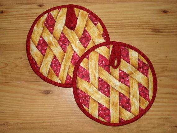 Pot Holders - 8 inch round - Cherry Pie