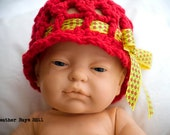 Baby Hat. Crocheted Bonnet Vintage Style for Newborn to 3 Months. Red with a Yellow Bow.