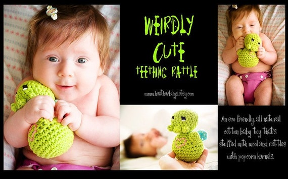 Baby Rattle for Teething. Crocheted Toy. Cthulhu Love.  Weirdly Cute Teething Rattle.