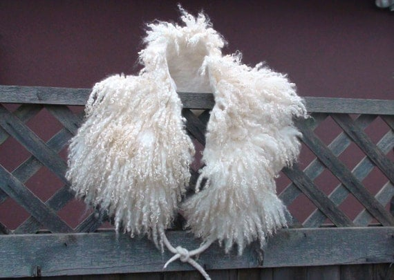 Creamy white curly wool scarf