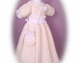 Winter - Sweet Miranda Roses children crochet dress Digital e Pattern (girl size 8, 10, 12, 14) 001P-LG