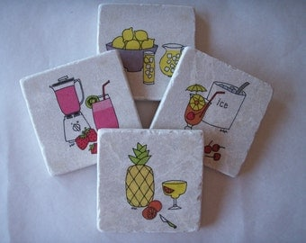 Drink Coasters, Summer Decor,Mothers Day Gift,Natural Stone