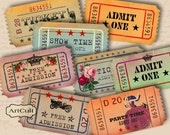 Printable Download ADMIT ONE Vintage Style Tickets for Scrapbooking Digital Collage Sheet Vintage scrapbooking Paper Craft projects ArtCult