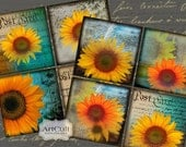 Printable SUNFLOWERS 3.8x3.8 inch size Images Digital download for Coasters Greeting Cards Gif tags magnets ArtCult digital Collage Sheets