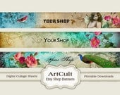 ETSY SHOP BANNERS, Set No4 - Multipurpose digital images/ Printable Download/ Digital Collage Sheets/ Bookmarks/ Paper Goods
