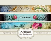 ETSY SHOP BANNERS, Set No1 - Multipurpose digital images/ Printable Download/ Digital Collage Sheets/ Bookmarks/ Paper Goods