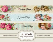 ETSY SHOP BANNERS Set No15 - Multipurpose digital images/ Printable Download/ Digital Collage Sheets/ Bookmarks/ Paper Goods