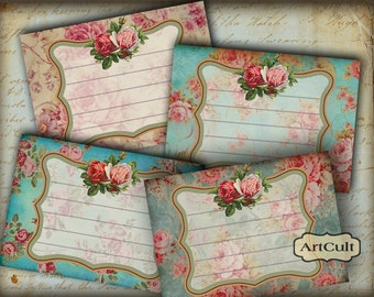 Printable Download ROMANTIC VICTORIAN LABELS Digital Collage Sheet Gift Tags jewelery holders scrapbooking Paper Craft ArtCult graphics