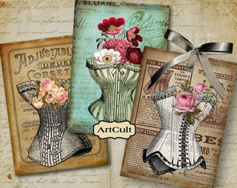 Printable downloads CORSETS Charming Gift Tags Digital Collage Sheet Jewelry Holders Printable Vintage Images decoupage scrapbooking Paper