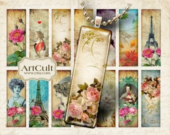 Digital Collage Sheet MAGIC SLIDES 1x3 inch size images Printable download for glass and resin pendants micro slides magnets ArtCult designs