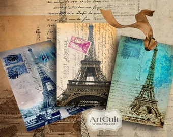 Printable Download EIFFEL TOWER TAGS Digital Collage Sheet Paris images french Jewelry Holders Scrapbooking ephemera paper ArtCult designs