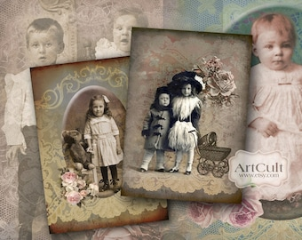 OLD FAMILY ALBUM - Digital Collage Sheet - Printable vintage ephemera 2.5x3.5 inch size images paper goods scrapbook  journaling spot