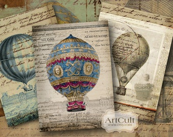 Printable download BALLOONS Gift Tags Digital Collage Sheet 2.5x3.5 inch size print-it-yourself Vintage paper greeting cards ArtCult