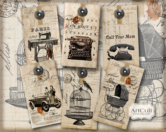 Printable download UNIQUE EPHEMERA GIFT Tags Digital Collage Sheet 2.3 x 4.0 inch images Vintage Ephemera decoupage Paper by ArtCult