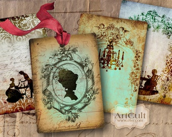 Printable Gift Tags BAROQUE SILHOUETTES Digital Collage Sheet vintage ephemera images Jewelry Holders artcult clip art downloadable graphics