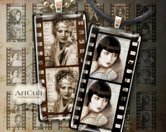 1x2 inch printable images OLD MOVIE Digital Collage Sheet Domino size clip art for pendants paper craft magnets scrapbooking decoupage craft