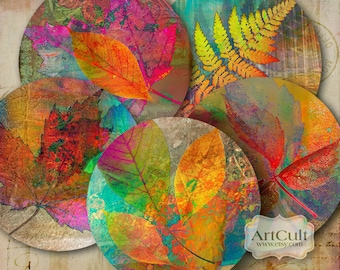 "Printable Collage Sheets digital download AUTUMN LEAVES 2.5"" size circle images for Pocket Mirrors Magnets Paper Weights. ArtCult designs"