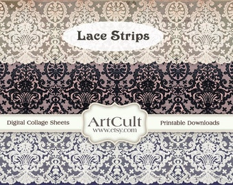 Printable download LACE STRIPS Digital Collage Sheet for scrapbooking decoupage  paper craft embellishment ArtCult graphics designs