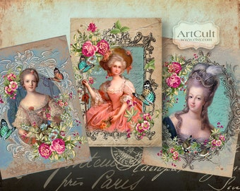 Printable download ARISTOCRACY Gift tags Digital Collage Sheet Art Cult Greeting cards Vintage ephemera print-it-yourself Paper goods