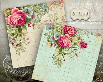 Printable Collage Sheet ROMANTIC ROSES 3.8x3.8 inch Images for Coasters Greeting cards Magnets Gift tags decoupage paper ArtCult graphics