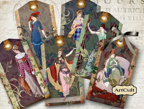 PARISIAN COUTURE - Digital Collage Sheet Designed Fashion Tags Printable Vintage Paper Jewelry Holders