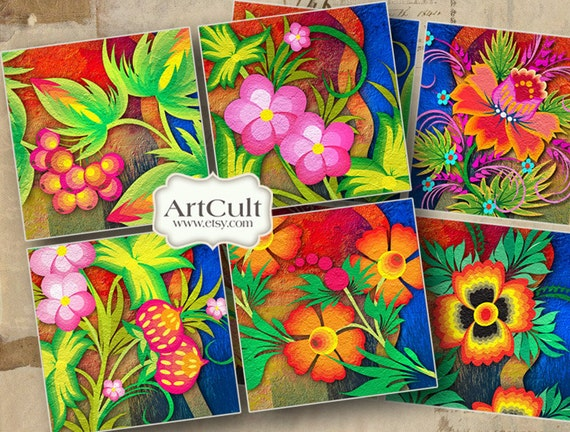 Printable 3.8x3.8 inch Images ENCHANTED GARDEN digital download for Coasters Greeting cards magnets gift tags fall flowers decoupage ArtCult
