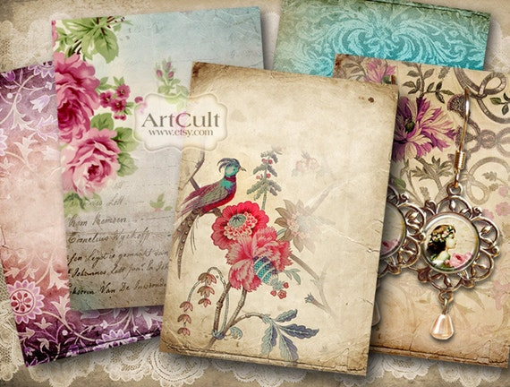 GROOVY BACKGROUNDS No2 - Gift Tags Printable download Digital Collage Sheet Jewelry Holders 2.5x3.5 inch size Vintage Labels scrapbook paper