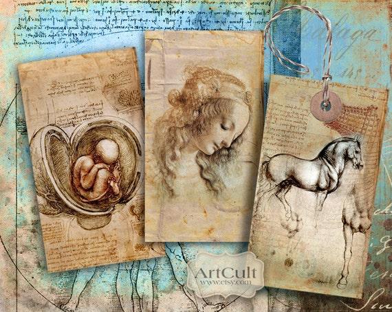 HOMAGE TO LEONARDO - Digital Collage Sheet Printable Da Vinci Gift Tags 2.3x.4 inch size images Vintage Paper Craft