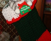 Crocheted Ribbed Christmas Stocking/Christmas Decoration/Christmas Ornament/Deck the Halls/Green, Red, White/Jingle Bells/Great for presents