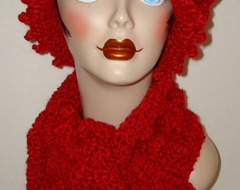 Crochet Edwardian Bobble Scarf Set/Neck Scarf/Wrap/Matching Cloche Flapper Hat/Fall and Winter Accessories/Womens Hat and Scarf/Warm-Soft