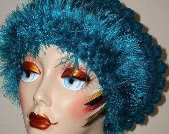 Elegant Hand Crochet Slouchy Bobble Tam with Novelty Fur Trim/Beret Tam/Women's Accessories/Hat/Winter Accessories/Fashion Accessories/Fall